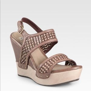 New UGG Assia Wedge Woven leather sandals 7.5